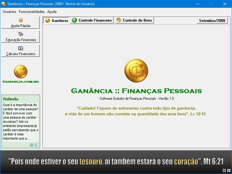 Tela inicial do software Ganância Finanças Pessoais